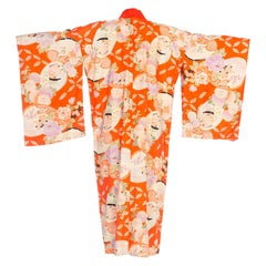 Mid-Century Japanese Silk Kimono in Orange
