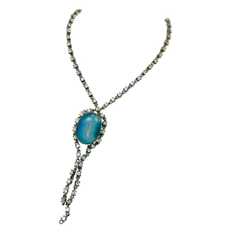 Meghna Schmuck handgefertigt Krater Geode Druzy kubischer Zirkon Halskette 1