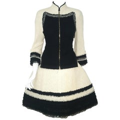 Chanel Ivory W/ Black Fringe & Lace Trim on Sleeves & Skirt Hem Suit