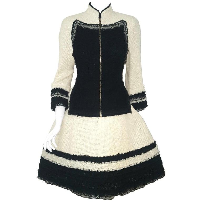 Chanel Ivory W/ Black Fringe & Lace Trim on Sleeves & Skirt Hem Suit For Sale
