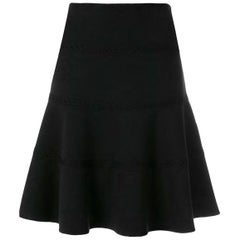 Azzedine Alaia Black Lace Detail Skater Skirt