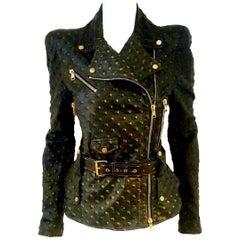 Alexander McQueen Stamped Black Leather Belted Peplum Jacket W/ Multiple Zippers