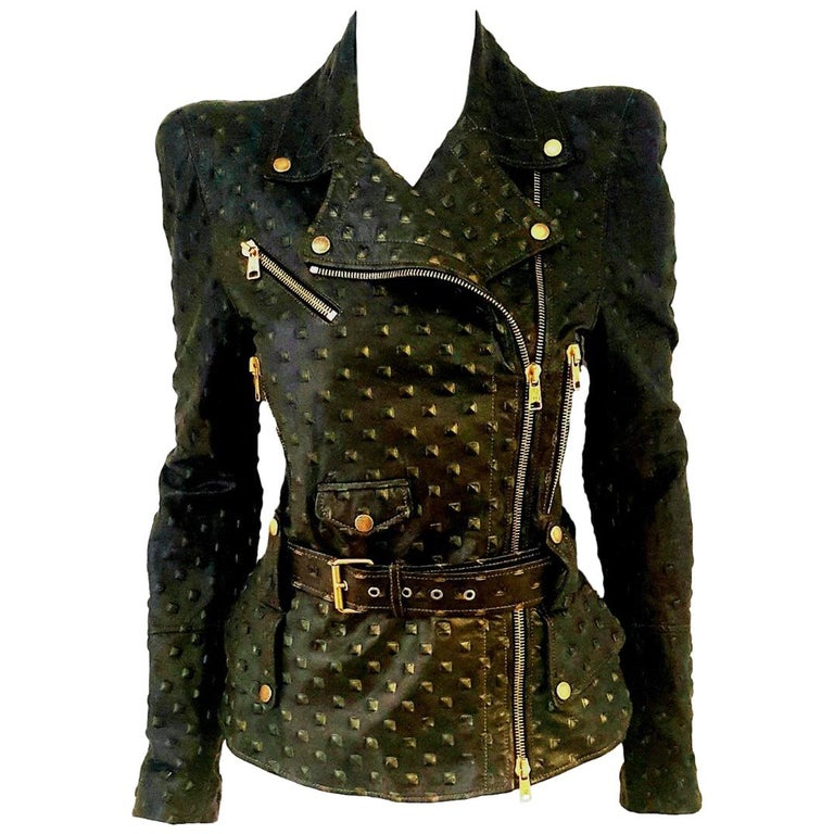 Alexander McQueen Stamped Black Leather Belted Peplum Jacket W/ Multiple Zippers For Sale