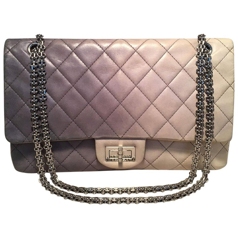 a6efd18de9c6 CHANEL Double Hybrid Degrade Ombre Grey Leather 2.55 Reissue 227 Classic  Flap For Sale