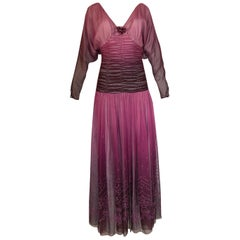 1970s Bill Gibb Ombre Silk Chiffon & Glitter Applique Plunge Dress