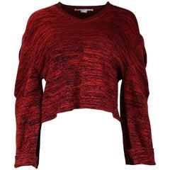 Stella McCartney NWT Red/Black Cotton V Neck Crop Longsleeve Sweater Sz 40