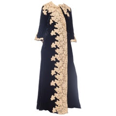 1920s Silk Velvet Robe With Hand-Stitched Lace