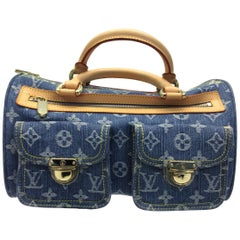Louis Vuitton Blue Denim Monogram Speedy Bag