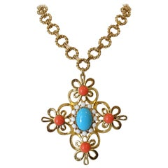 Gold Plated Chain Link Pendant Necklace
