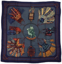 Hermes Blue and Orange 'Euirs Du Desert' Silk Scarf