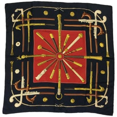 Hermes Black and Red 'Cannes & Pommeaux' Silk Scarf