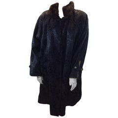Yves Saint Laurent Black and Brown Sheared Beaver and Mink Coat