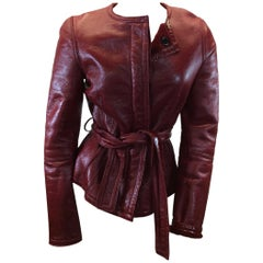 Yves Saint Laurent Red Leather and Shearling Jacket
