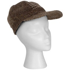 Houndstooth, Herringbone and Tweed Wool Gatsby Cap, 1960s