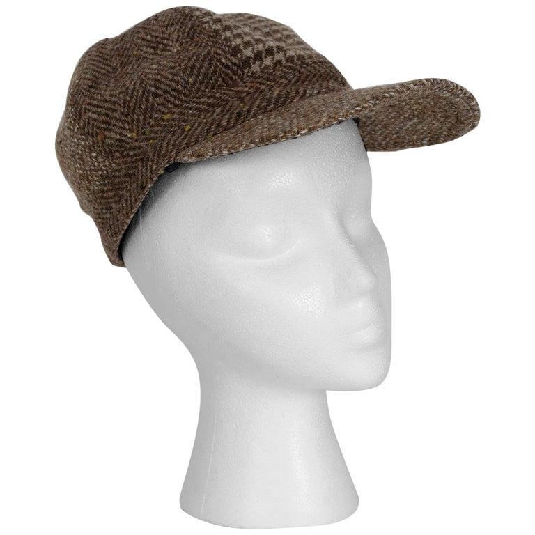 Houndstooth, Herringbone and Tweed Wool Gatsby Cap, 1960s For Sale