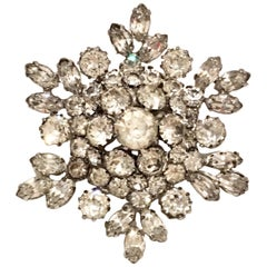 "20th Century Silver & Austriian Crystal ""Snowflake"" Brooch By, Weiss"
