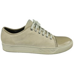 LANVIN Size 13 Ivory Solid Suede Sneakers