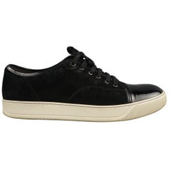 LANVIN Size 13 Black Solid Suede Sneakers