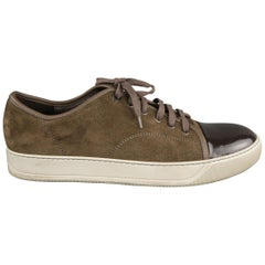 LANVIN Size 13 Taupe Solid Suede Sneakers