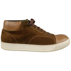 LANVIN Size 13 Brown Solid Suede High Top Sneakers