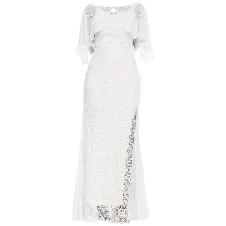 Backless 1930s White Lace Gown with Lace Caplet and Victorian Lace Detail For Sale