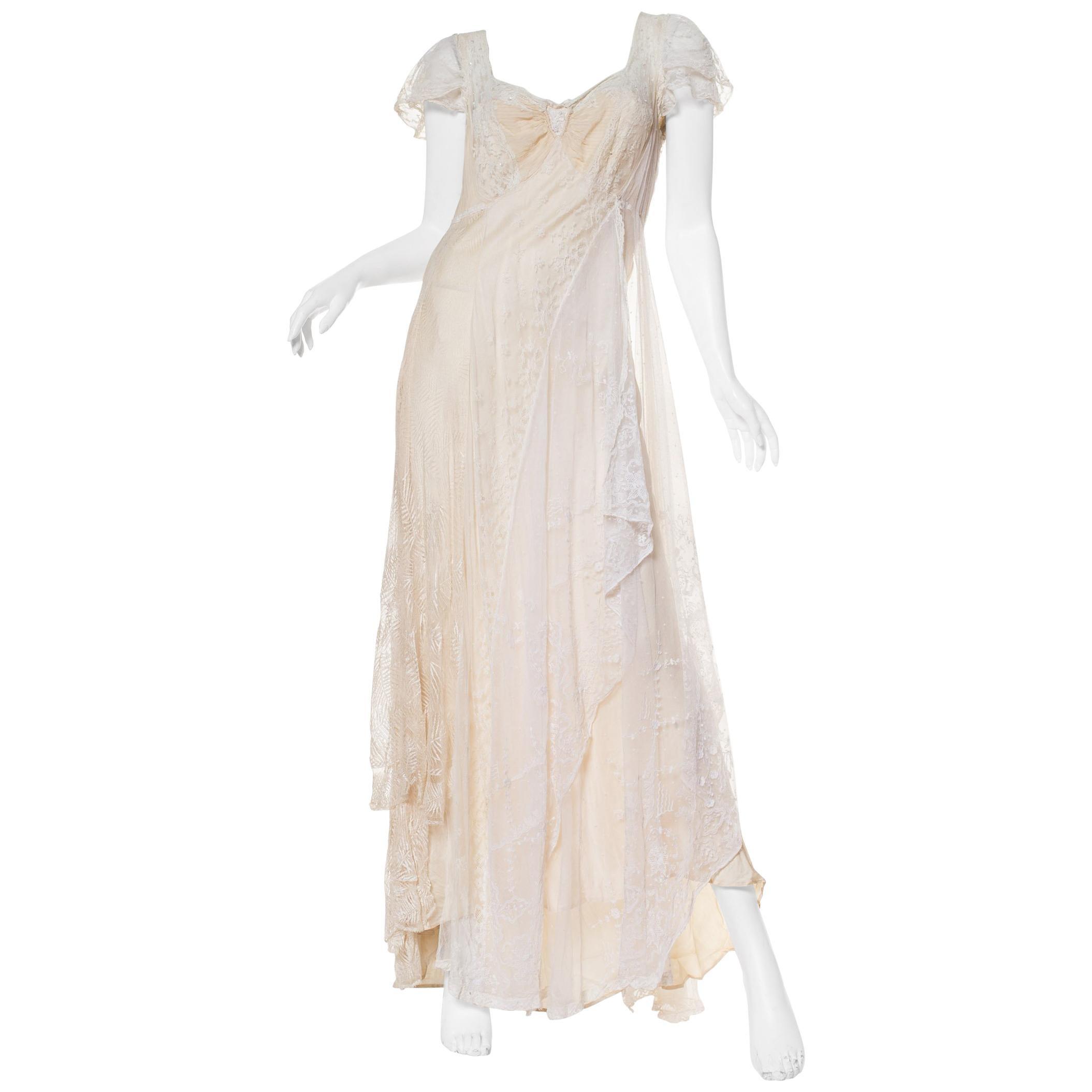 1930S Ivory Bias Cut Silk & Antique Edwardian Bridal Lace  Gown XL