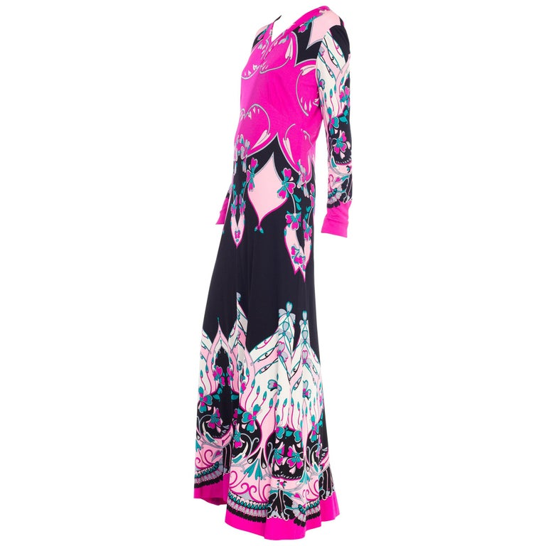 1970S ROLAND's OF ROME Pink  & Black Silk Jersey Pucci Leonard Style Long Sleev For Sale