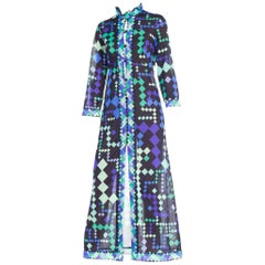 1960s Pucci Silky Nylon Mod Geometric Robe Duster Dress