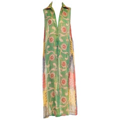 1970s Silk Shirt Dress With Gold Indian Embroidery