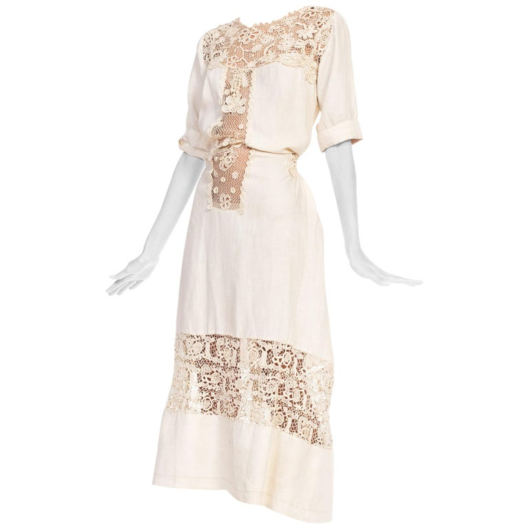 Edwardian Organic Linen Dress With Irish Crochet Lace For Sale