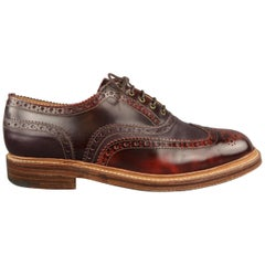 GRENSON Size 12 Burgundy Perforated Leather Lace Up Brogue