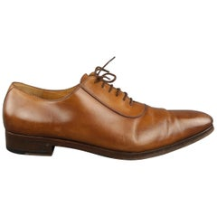 GUCCI Size 13 Tan Solid Leather Lace Up Shoes