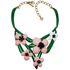 Oscar de la Renta Soft Pink Resin Green Enamel & Black Crystal Flower Necklace
