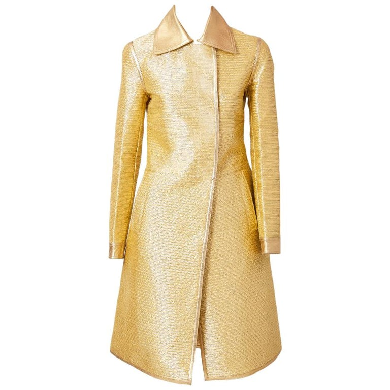 Tom Ford for Gucci  Runway Gold Coat with Leather Detail For Sale