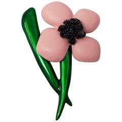 Oscar de la Renta Pink Resin & Green Enamel Flower Brooch with Black Crystals