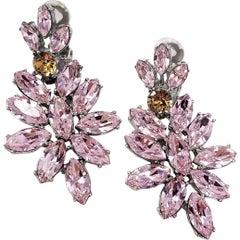 Oscar de la Renta Pink Crystal Cluster Clip On Earrings Rhodium Plated