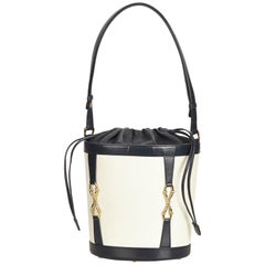 Gucci White x Blue x Navy Leather Bucket Bag