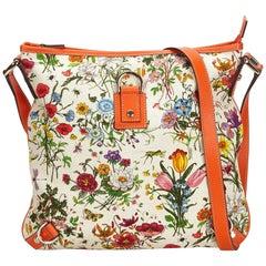 Gucci White x Ivory x Multi Floral Canvas Abbey Crossbody Bag