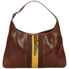 Gucci Brown x Dark Brown Leather Jackie Shoulder Bag