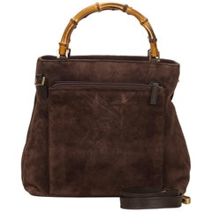 Gucci Dark Brown Bamboo Suede Satchel
