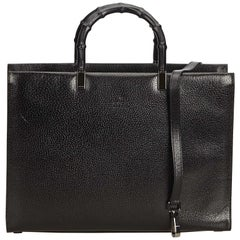 Gucci Black Bamboo Leather Satchel
