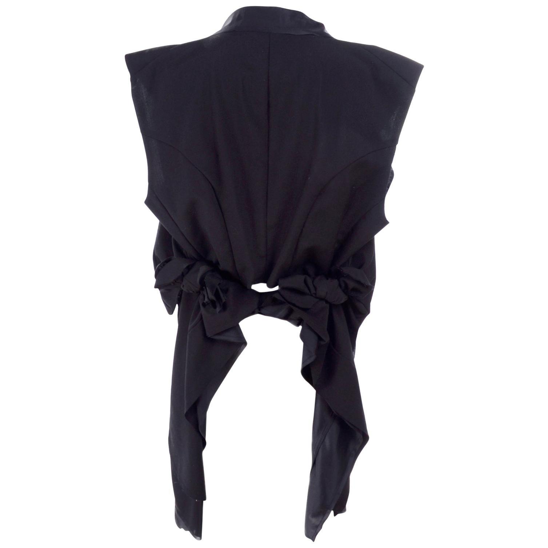 Black Wool Comme des Garcons Vest / Gilet Layered & Deconstructed w/ Raw Edges