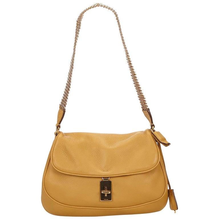 c2befb753d4b Prada Brown x Beige Leather Chain Shoulder Bag at 1stdibs