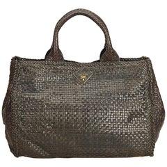 Prada Brown Madras Leather Handbag