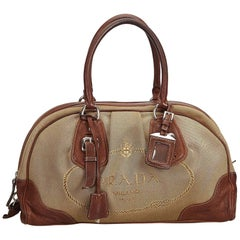 Prada Brown Canapa Canvas Handbag