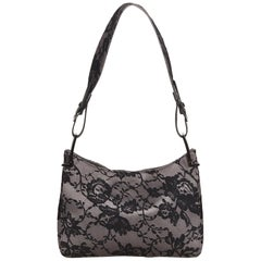 Gucci Gray x Dark Gray x Black Lace Baguette Bag