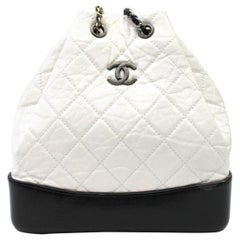 Chanel Gabrielle Backpack White and Black Leather