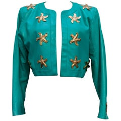 Yves Saint Laurent beautiful green lambskin jacket with golden stars