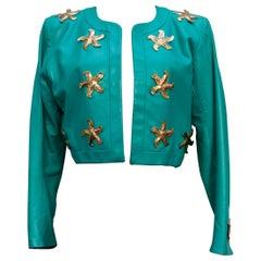 Yves Saint Laurent beautiful green lambskin jacket with golden stars