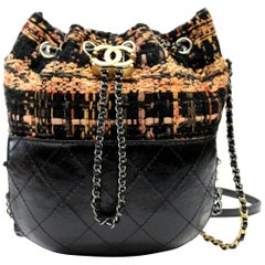 CHANEL Small Gabrielle Bucket Black Brown Orange Tweed